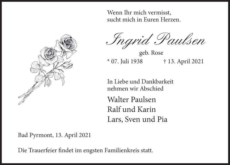Traueranzeige für Ingrid Paulsen vom 17.04.2021 aus Deister- und Weserzeitung