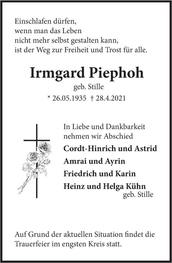 Traueranzeige für Irmgard Piephoh vom 30.04.2021 aus Deister- und Weserzeitung