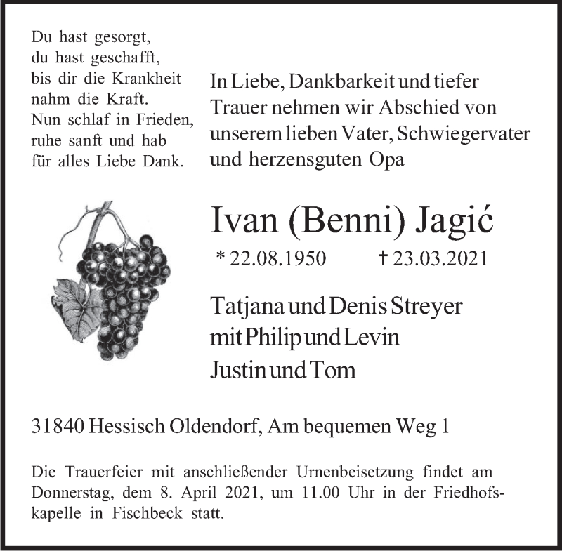 Traueranzeige für Ivan Jagic vom 03.04.2021 aus Deister- und Weserzeitung