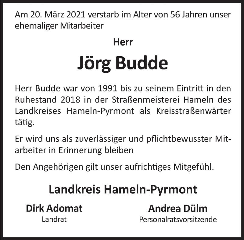 Traueranzeige für Jörg Budde vom 03.04.2021 aus Deister- und Weserzeitung