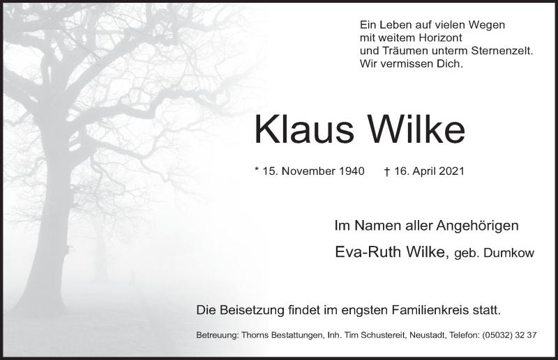 Traueranzeige für Klaus Wilke vom 24.04.2021 aus Deister- und Weserzeitung