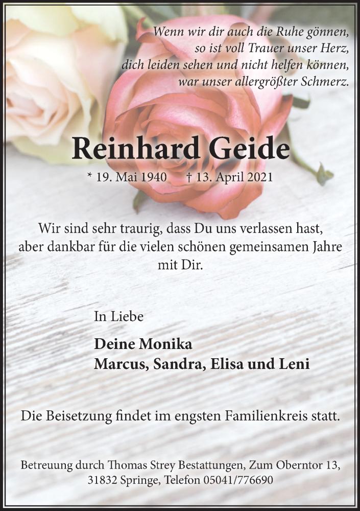 Traueranzeige für Reinhard Geide vom 24.04.2021 aus Neue Deister-Zeitung
