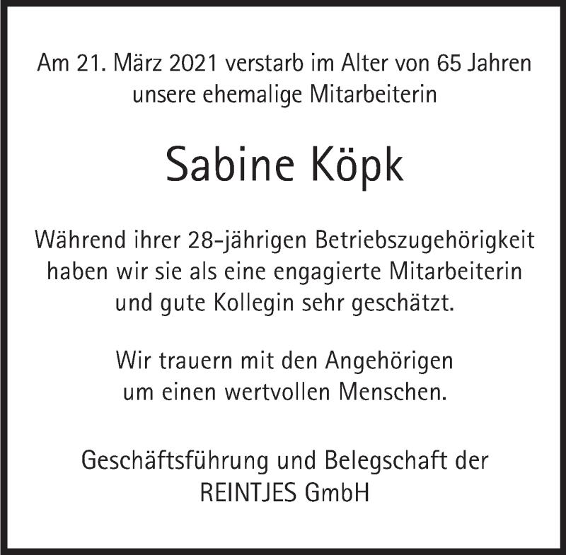 Traueranzeige für Sabine Köpk vom 07.04.2021 aus Deister- und Weserzeitung