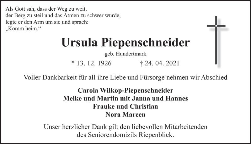 Traueranzeige für Ursula Piepenschneider vom 30.04.2021 aus Deister- und Weserzeitung