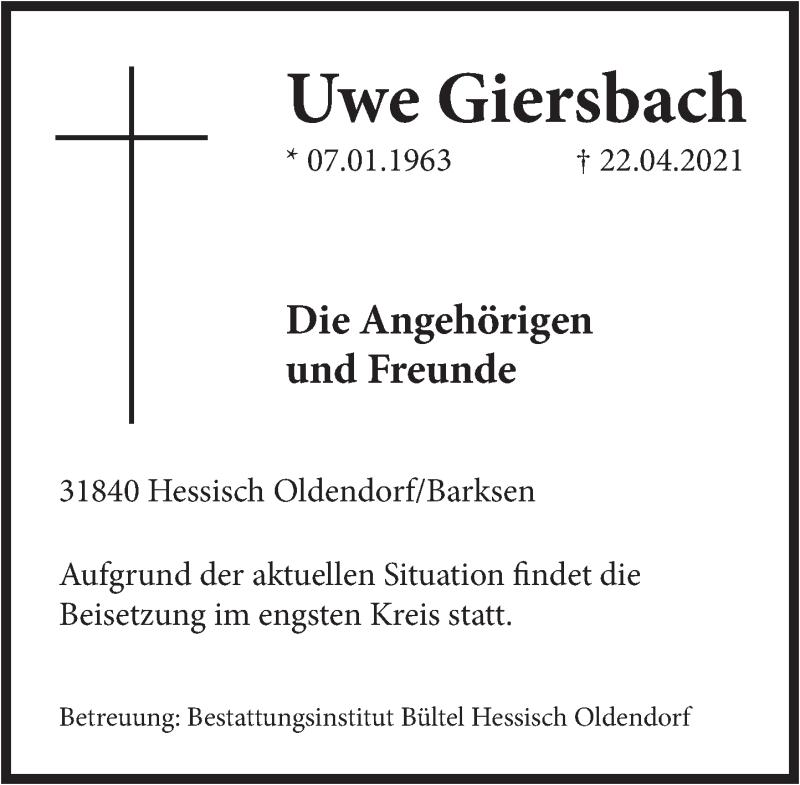 Traueranzeige für Uwe Giersbach vom 30.04.2021 aus Deister- und Weserzeitung