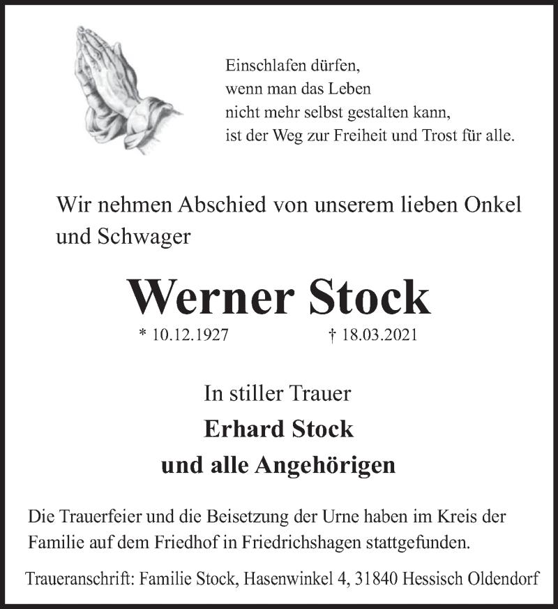 Traueranzeige für Werner Stock vom 03.04.2021 aus Deister- und Weserzeitung