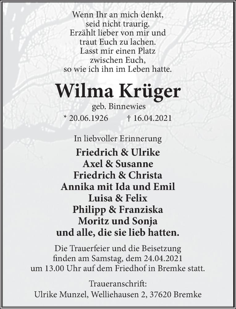 Traueranzeige für Wilma Krüger vom 21.04.2021 aus Deister- und Weserzeitung