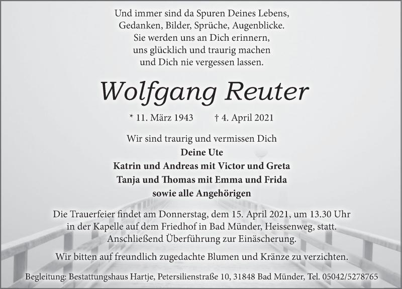 Traueranzeige für Wolfgang Reuter vom 10.04.2021 aus Neue Deister-Zeitung