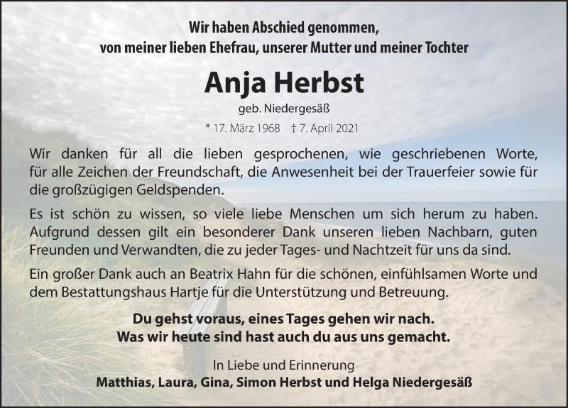 Traueranzeige für Anja Herbst vom 08.05.2021 aus Neue Deister-Zeitung