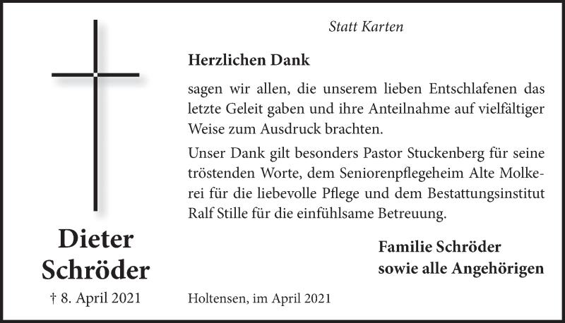 Traueranzeige für Dieter Schröder vom 30.04.2021 aus Neue Deister-Zeitung