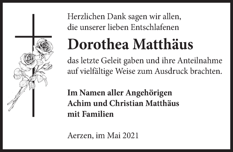 Traueranzeige für Dorothea Matthäus vom 29.05.2021 aus Deister- und Weserzeitung