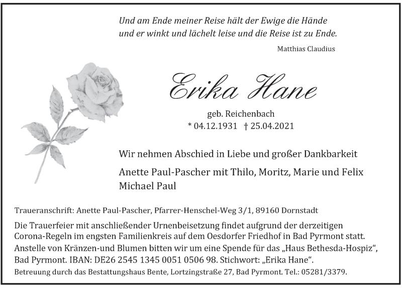 Traueranzeige für Erika Hane vom 30.04.2021 aus Deister- und Weserzeitung