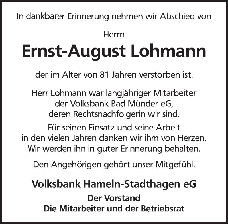 Traueranzeige für Ernst-August Lohmann vom 03.05.2021 aus Neue Deister-Zeitung