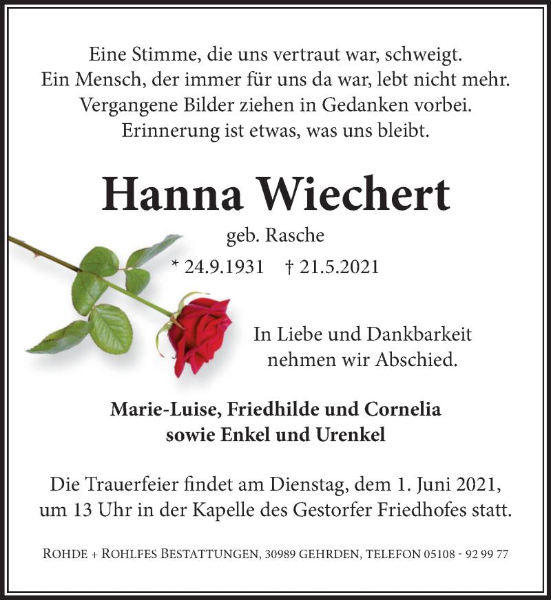 Traueranzeige für Hanna Wiechert vom 29.05.2021 aus Neue Deister-Zeitung
