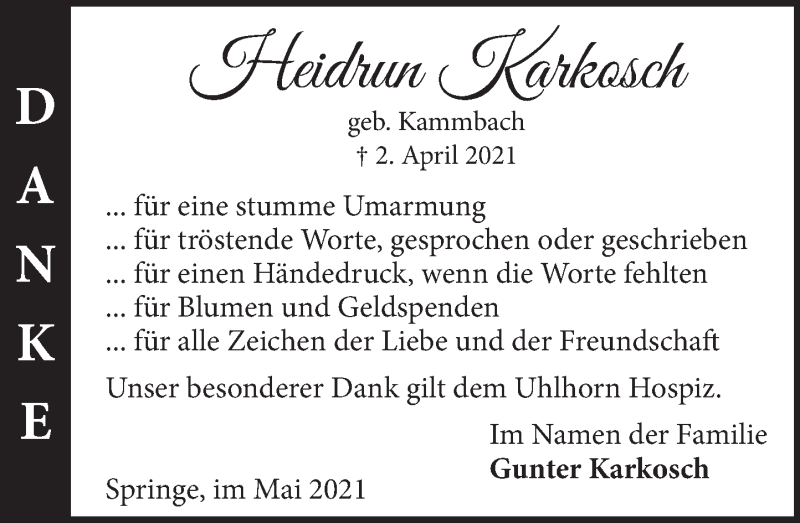 Traueranzeige für Heidrun Karkosch vom 08.05.2021 aus Neue Deister-Zeitung