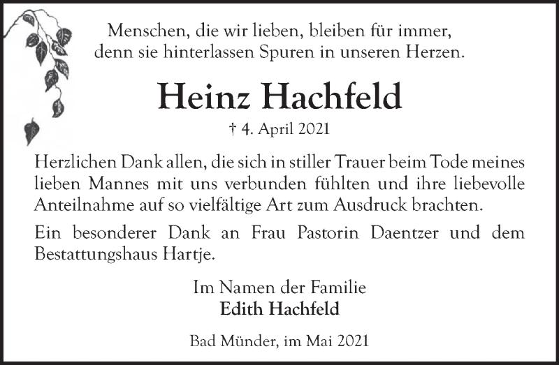 Traueranzeige für Heinz Hachfeld vom 08.05.2021 aus Neue Deister-Zeitung