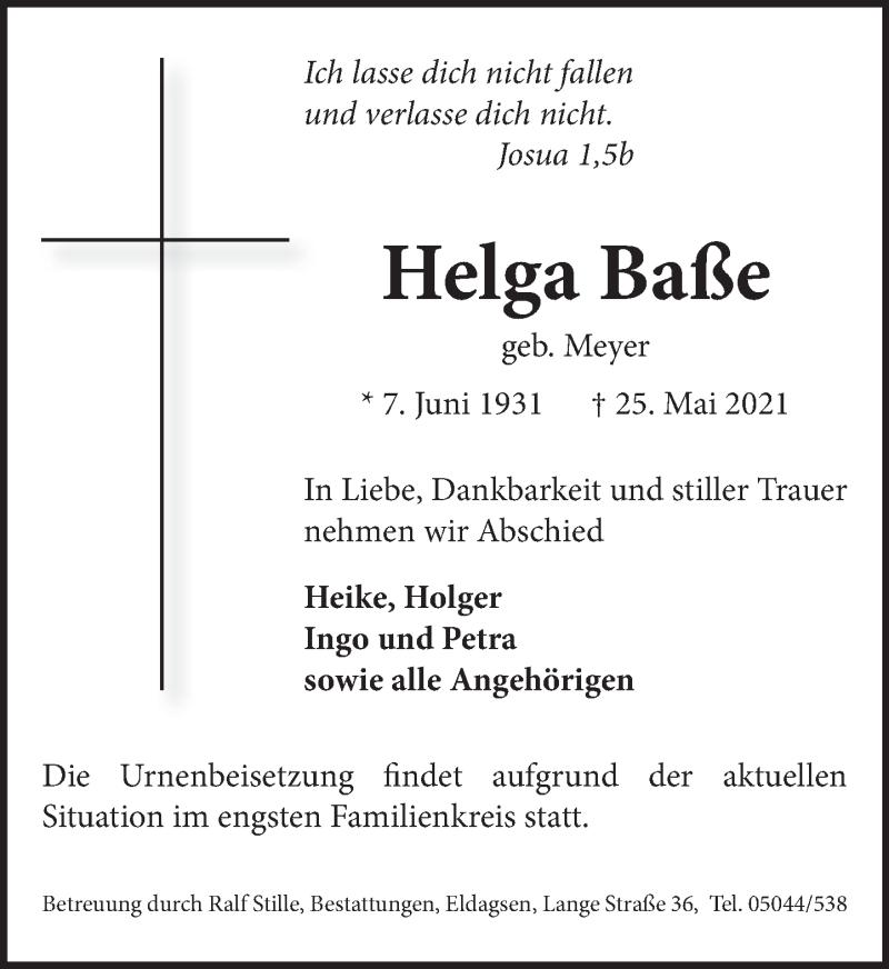 Traueranzeige für Helga Baße vom 29.05.2021 aus Neue Deister-Zeitung