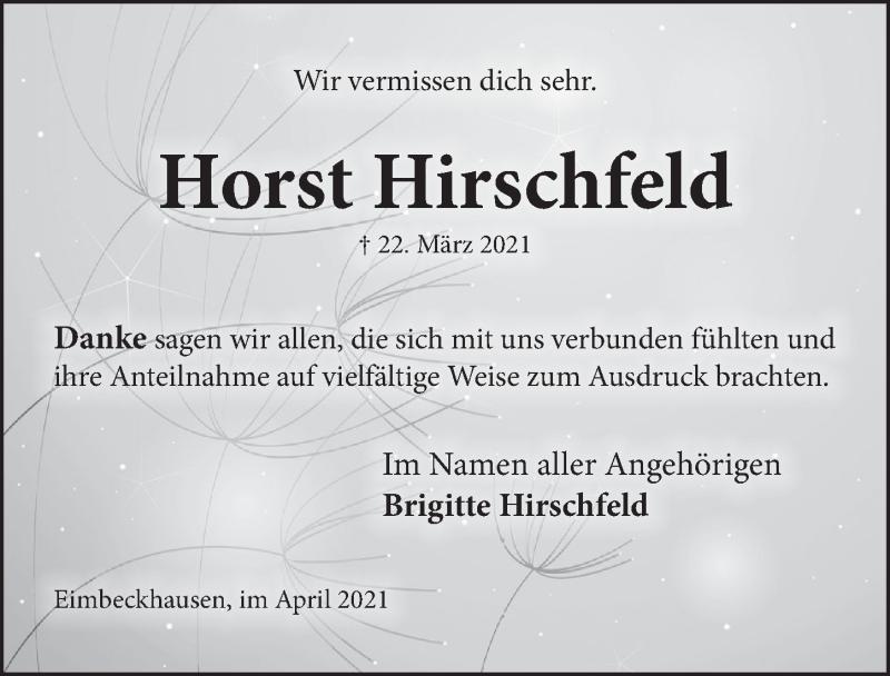 Traueranzeige für Horst Hirschfeld vom 30.04.2021 aus Neue Deister-Zeitung