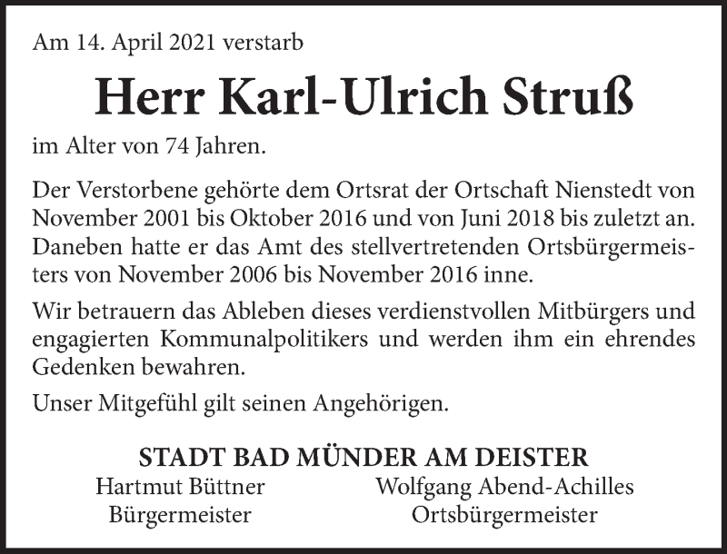 Traueranzeige für Karl-Ulrich Struß vom 03.05.2021 aus Neue Deister-Zeitung