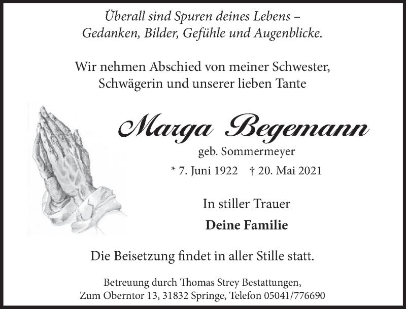 Traueranzeige für Marga Begemann vom 29.05.2021 aus Neue Deister-Zeitung