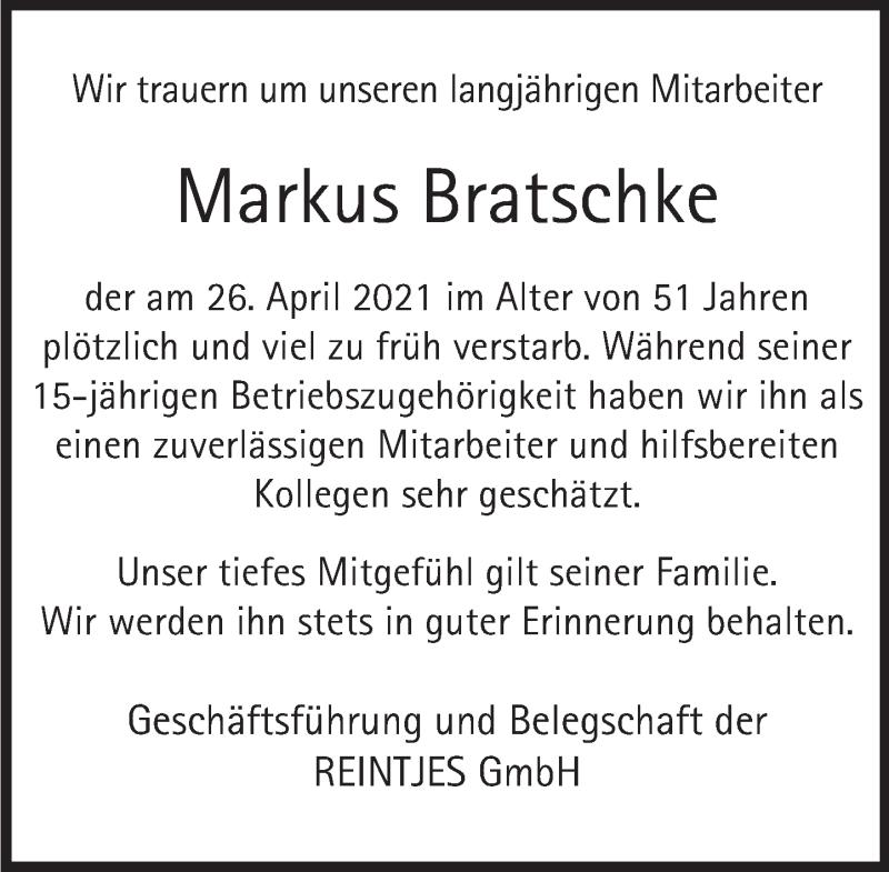 Traueranzeige für Markus Bratschke vom 08.05.2021 aus Deister- und Weserzeitung