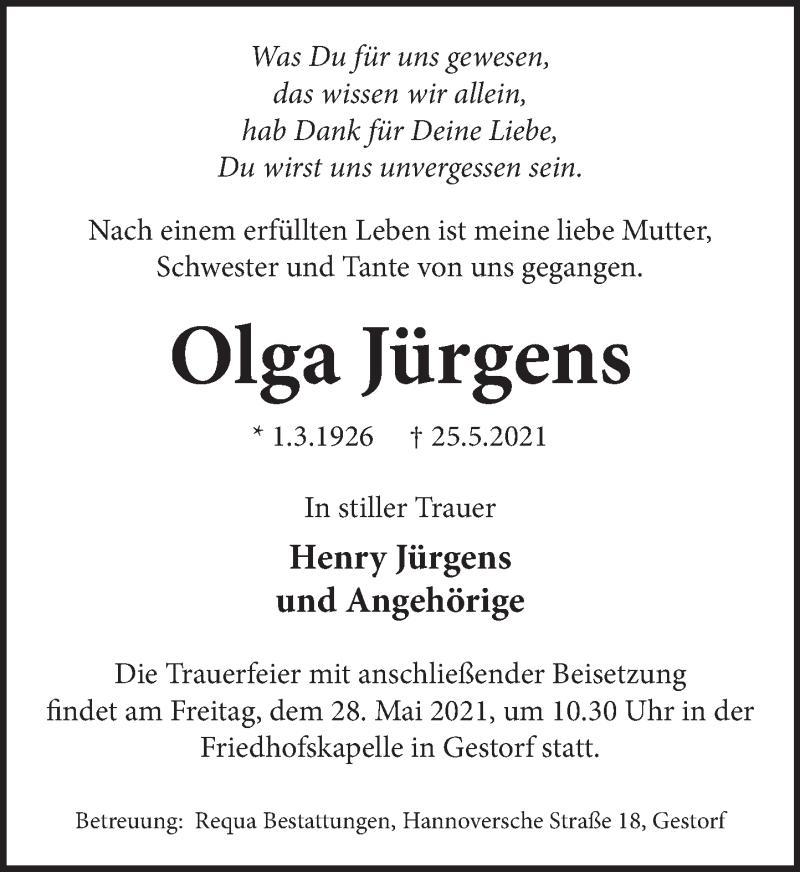 Traueranzeige für Olga Jürgens vom 27.05.2021 aus Neue Deister-Zeitung