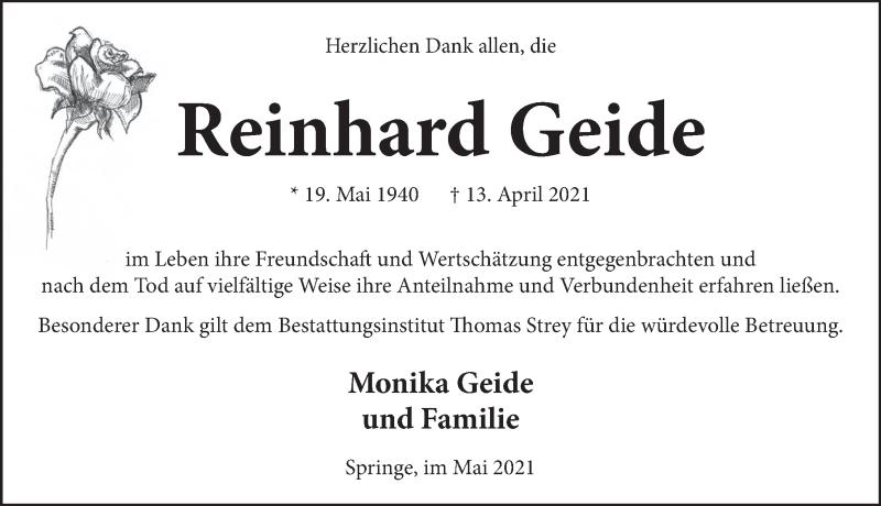Traueranzeige für Reinhard Geide vom 22.05.2021 aus Neue Deister-Zeitung