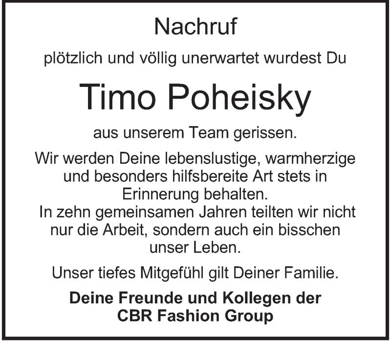 Traueranzeige für Timo Poheisky vom 30.04.2021 aus Deister- und Weserzeitung