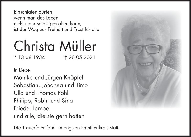 Traueranzeige für Christa Müller vom 05.06.2021 aus Deister- und Weserzeitung