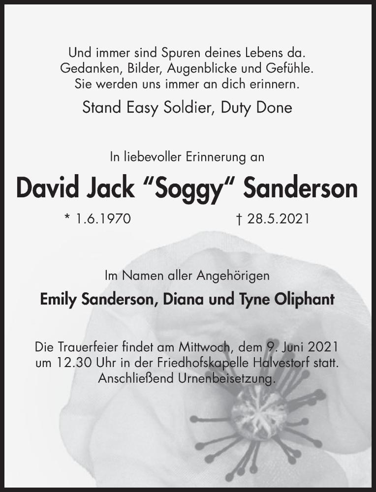 Traueranzeige für David Sanderson vom 05.06.2021 aus Deister- und Weserzeitung