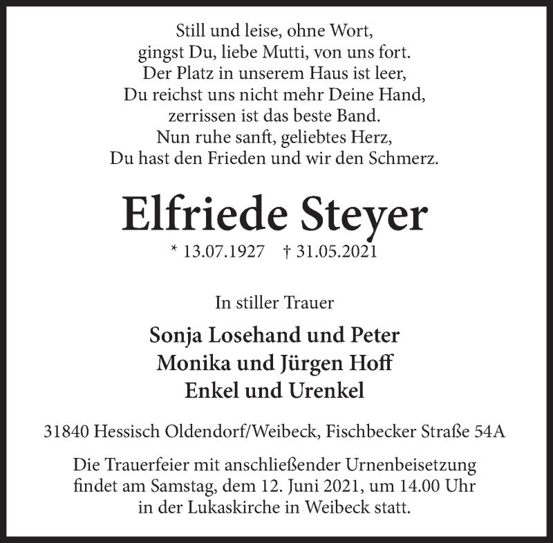 Traueranzeige für Elfriede Steyer vom 10.06.2021 aus Deister- und Weserzeitung