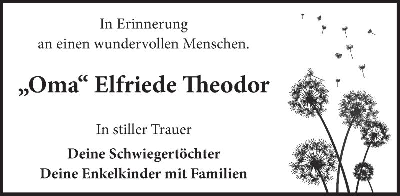 Traueranzeige für Elfriede Theodor vom 05.06.2021 aus Neue Deister-Zeitung