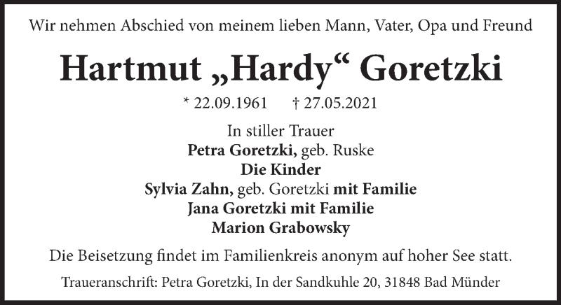 Traueranzeige für Hartmut  Goretzki vom 05.06.2021 aus Neue Deister-Zeitung