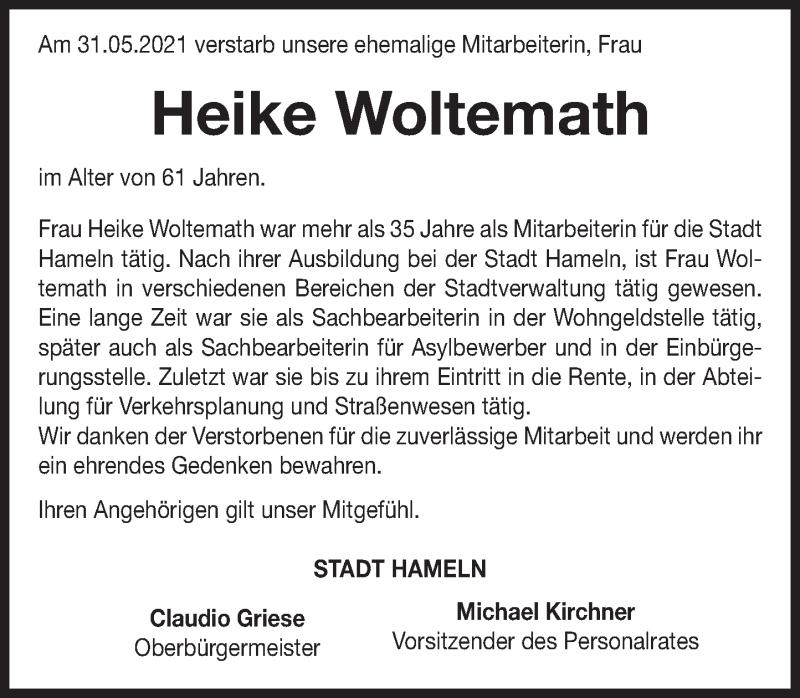 Traueranzeige für Heike Woltemath vom 12.06.2021 aus Deister- und Weserzeitung