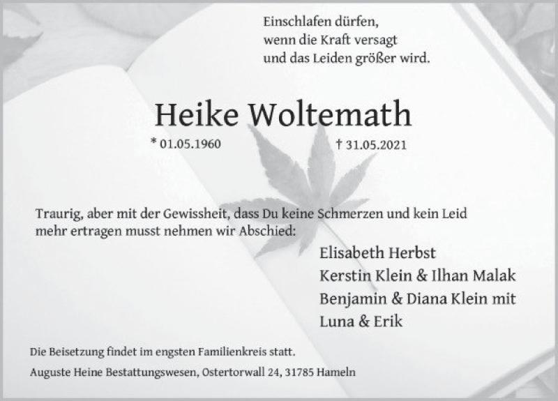 Traueranzeige für Heike Woltemath vom 05.06.2021 aus Deister- und Weserzeitung