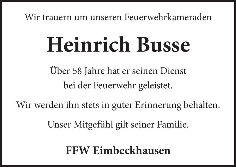 Traueranzeige für Heinrich  Busse vom 05.06.2021 aus Neue Deister-Zeitung