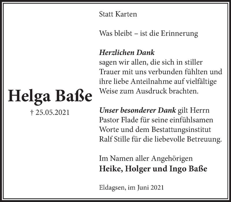 Traueranzeige für Helga Baße vom 12.06.2021 aus Neue Deister-Zeitung