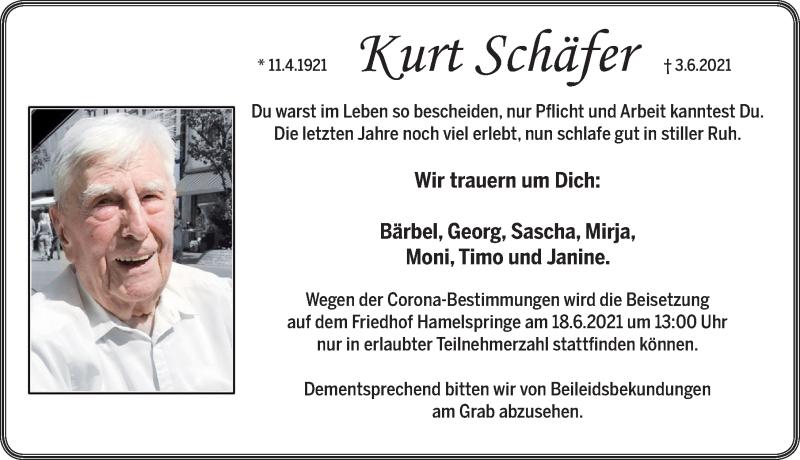 Traueranzeige für Kurt Schäfer vom 16.06.2021 aus Neue Deister-Zeitung