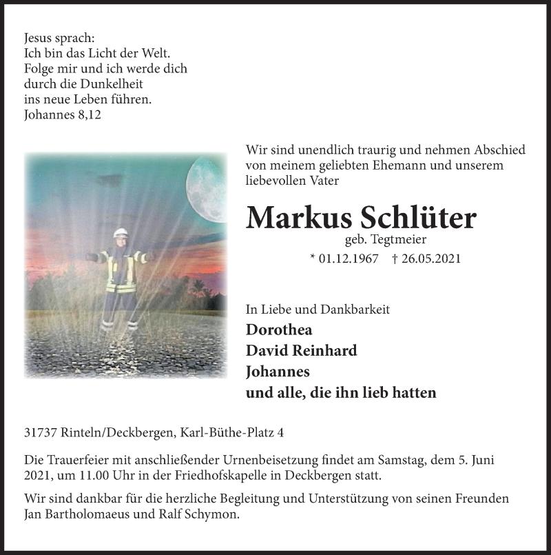 Traueranzeige für Markus Schlüter vom 02.06.2021 aus Deister- und Weserzeitung