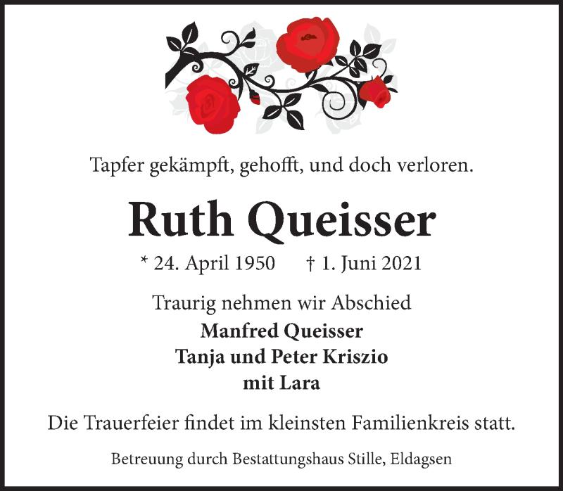 Traueranzeige für Ruth Queisser vom 05.06.2021 aus Neue Deister-Zeitung