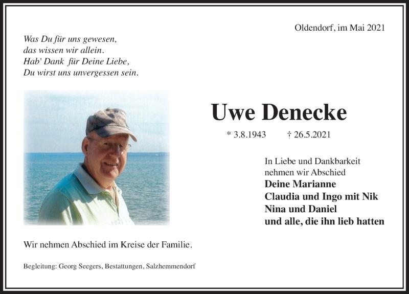 Traueranzeige für Uwe Denecke vom 05.06.2021 aus Deister- und Weserzeitung