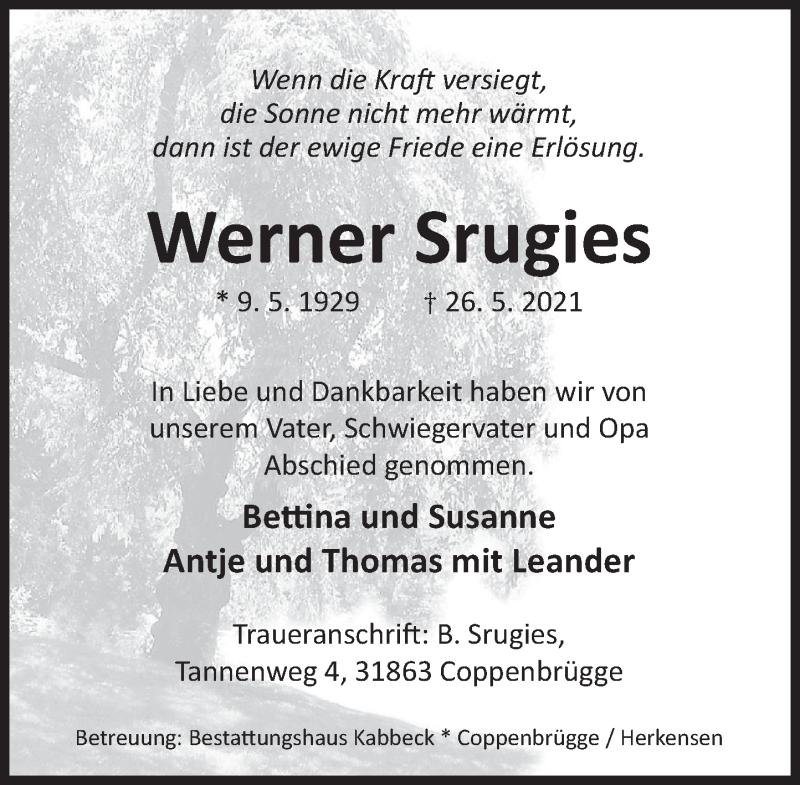 Traueranzeige für Werner Srugies vom 05.06.2021 aus Deister- und Weserzeitung