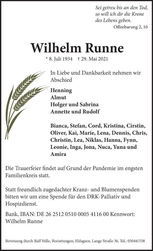 Traueranzeige für Wilhelm Runne vom 02.06.2021 aus Neue Deister-Zeitung