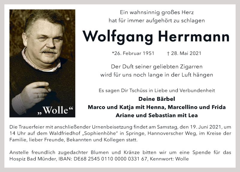 Traueranzeige für Wolfgang Herrmann vom 05.06.2021 aus Neue Deister-Zeitung