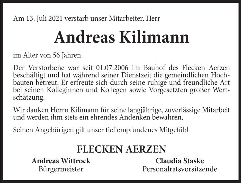 Traueranzeige für Andreas Kilimann vom 20.07.2021 aus Deister- und Weserzeitung