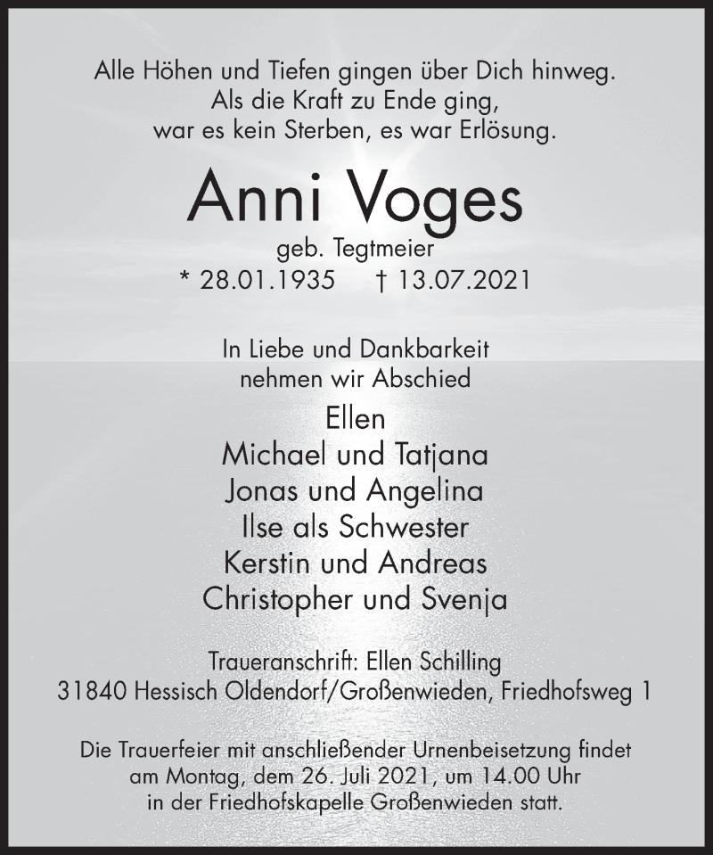 Traueranzeige für Anni Voges vom 21.07.2021 aus Deister- und Weserzeitung