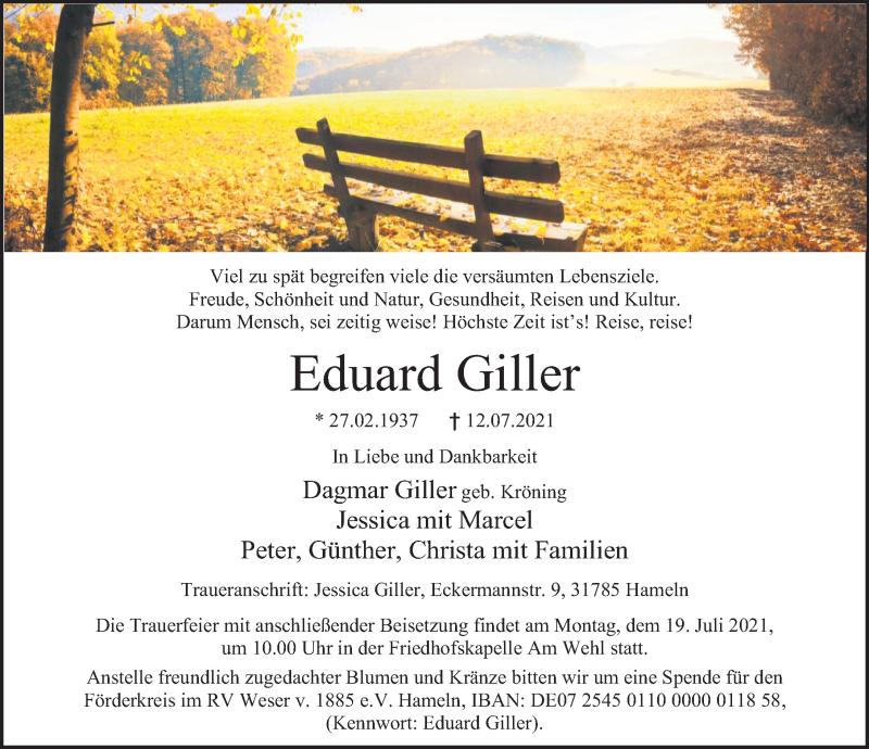 Traueranzeige für Eduard Giller vom 17.07.2021 aus Deister- und Weserzeitung