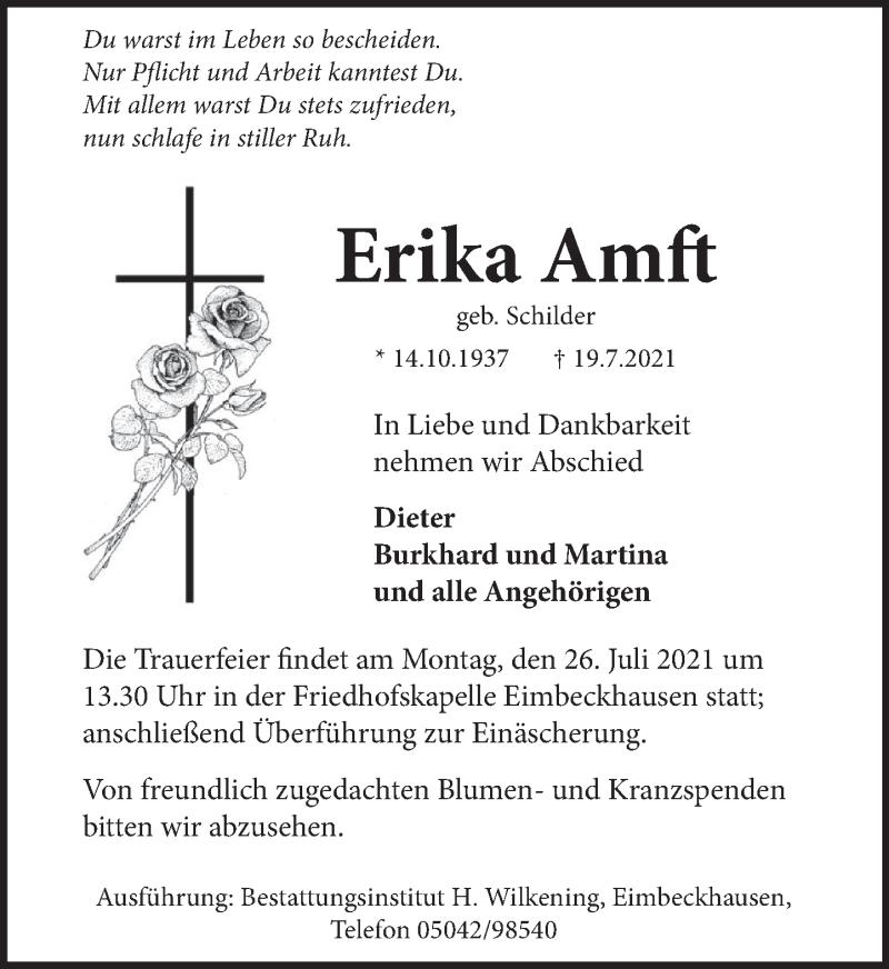 Traueranzeige für Erika Amft vom 24.07.2021 aus Neue Deister-Zeitung