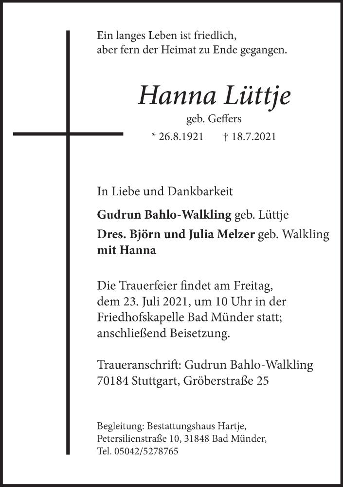 Traueranzeige für Hanna Lüttje vom 21.07.2021 aus Neue Deister-Zeitung