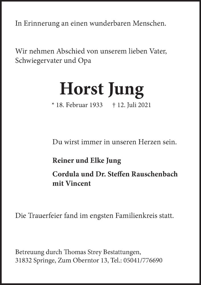Traueranzeige für Horst Jung vom 14.08.2021 aus Neue Deister-Zeitung